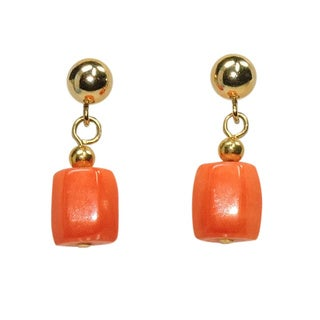 Oval Pink Coral Dangle Earrings