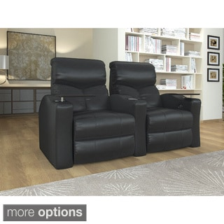 Home Theater Seating Bonded Leather, Straight Row with Power Recline - Black