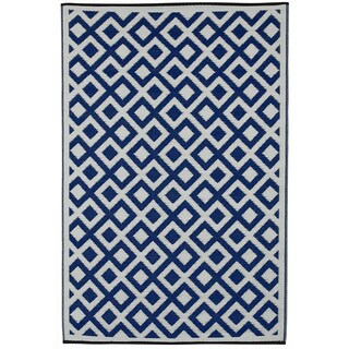 Indo Marina Indigo and Bright White Geometric Area Rug (6' x 9')