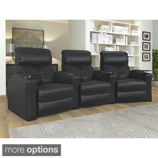 Home Theater Seating Bonded Leather, Curved Row with Manual Recline - Black