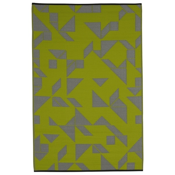 Indo Santa Cruz Lime and Grey Geometric Area Rug (6' x 9')
