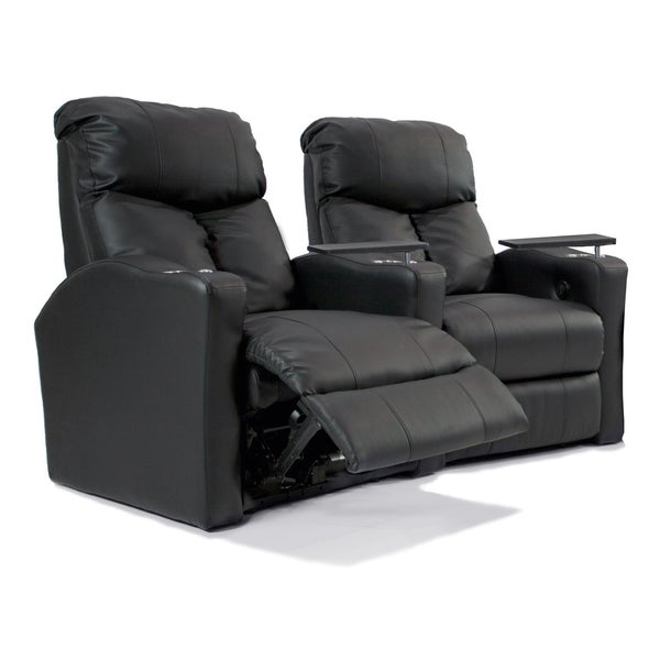 Leather-Match Home Theater Curved Recliner Row