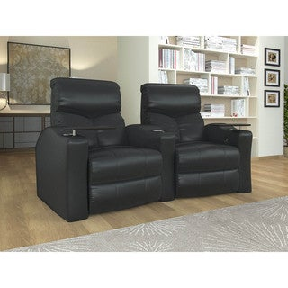 Home Theater Seating Star Black Bonded Leather Curved Row Chairs with Power Recline