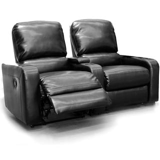 Encore Home Theatre Seating Black Bonded Leather Straight Row Chairs with Manual Recline