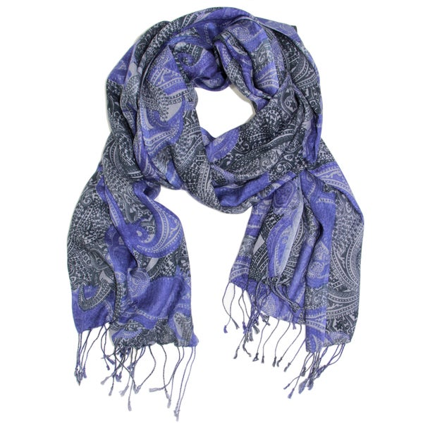 Saachi Women's Royal Purple Paisley Scarf (India)