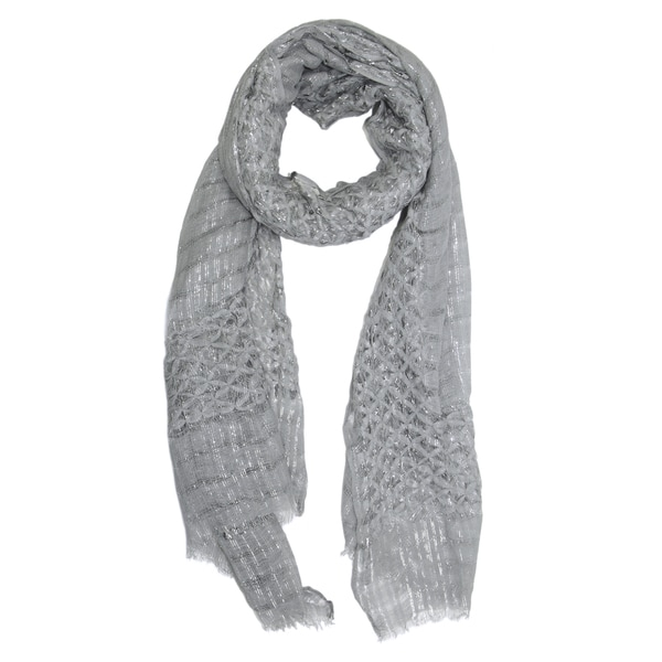 Saachi Women's Grey Metallic Open Weave Scarf (China)