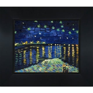 Vincent Van Gogh 'Starry Night Over The Rhone' Hand-painted Framed Canvas Art