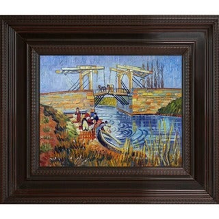 Vincent Van Gogh 'Langlois Bridge at Arles with Women Washing' Hand Painted Framed Canvas Art