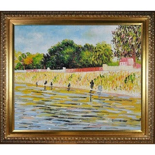 Vincent Van Gogh 'The Banks of the Seine May-June' Hand Painted Framed Canvas Art