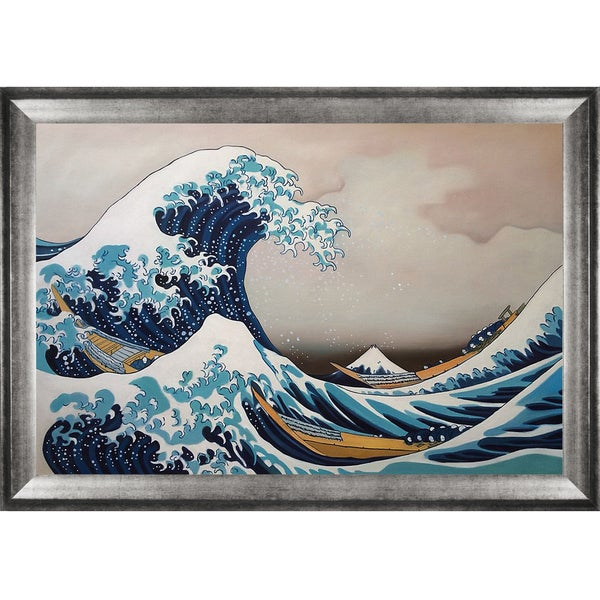 Katsusika Hokusai 'The Great Wave off Kanagawa' Hand-painted Framed Canvas Art