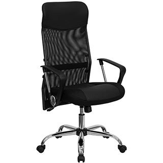 Offex High Back Black Split Leather Chair with Mesh Back