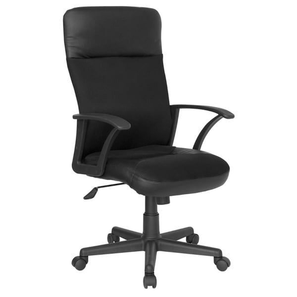 offex mid back black and white leather executive swivel office chair