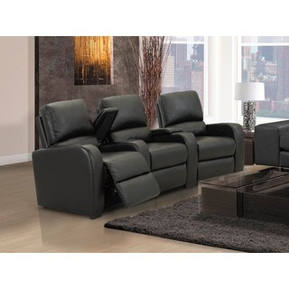 Home Theatre Seating Encore Black Bonded Leather Curved Row Chairs with Manual Recline