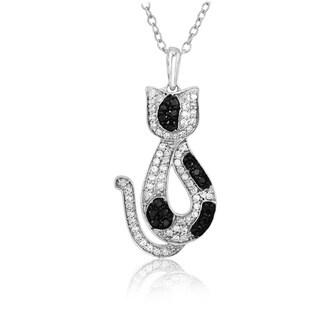 ASPCA Sterling Silver 1/3ct TDW Black and White Diamond Cat Pendant (I-J, I2-I3)