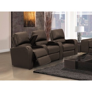 Home Theatre Seating Encore Brown Bonded Leather Curved Row Chairs with Manual Recline