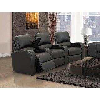 Home Theatre Seating Encore Black Bonded Leather Curved Row Chairs with Power Recline