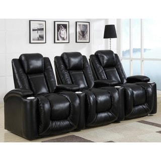 Home Theatre Seating Cameo Black Leather/ Match Straight Row Chairs with Power Recline