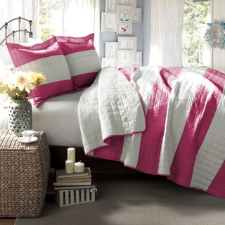 Lush Decor Berlin Stripe Hot Pink 3-Piece Quilt Set