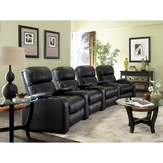 Black Bonded Leather Curved Row Home Theater Seating with Power Recline