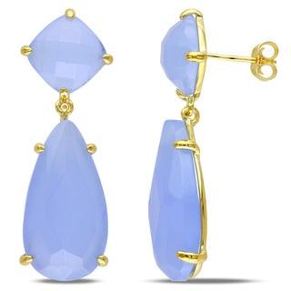 Miadora Blue Chalcedony Dangle Earrings