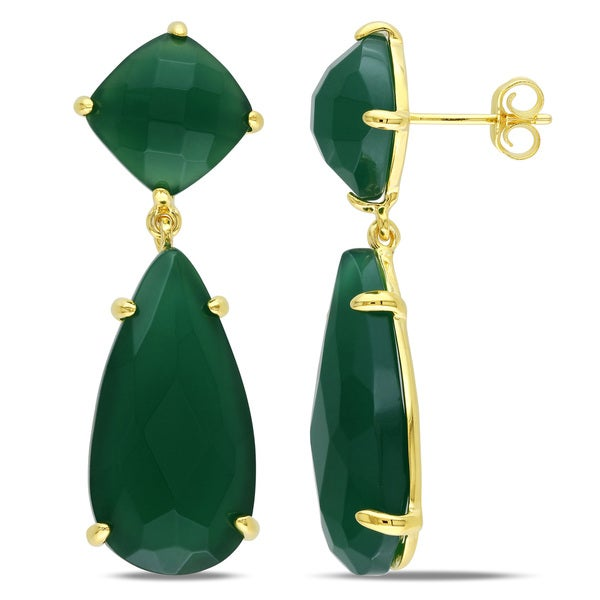 Miadora Green Onyx Dangle Earrings