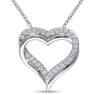 Miadora Sterling Silver Created White Sapphire Double Heart Necklace