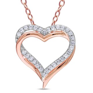Miadora Rose Goldplated Silver Created White Sapphire Double Heart Necklace