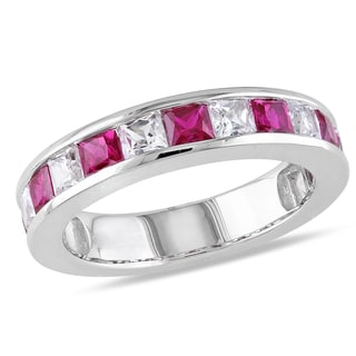 Miadora Sterling Silver 2 1/3ct TGW Created Ruby and White Sapphire Stackable Ring