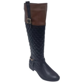 Women's 'Robin-03' Black and Brown Riding Boots