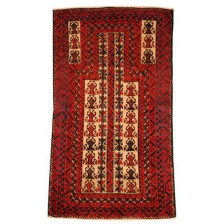 Herat Oriental Semi-antique Afghan Hand-knotted Tribal Balouchi Ivory/ Rust Wool Rug (2'7 x 4'8)