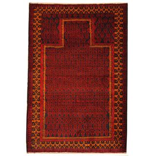 Herat Oriental Semi-antique Afghan Hand-knotted Tribal Balouchi Navy/ Red Wool Rug (3' x 4'8)