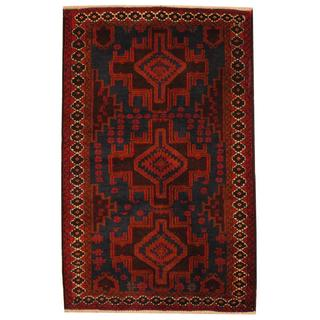 Herat Oriental Semi-antique Afghan Hand-knotted Tribal Balouchi Navy/ Rust Wool Rug (3' x 4'7)