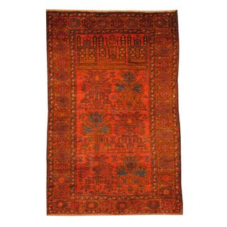 Herat Oriental Semi-antique Afghan Hand-knotted Tribal Balouchi Rust/ Navy Wool Rug (2'7 x 4')