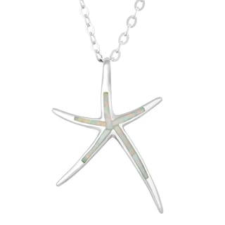 La Preciosa Sterling Silver White Opal Starfish Necklace