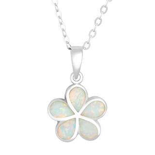 La Preciosa Sterling Silver Created White Opal Flower Pendant