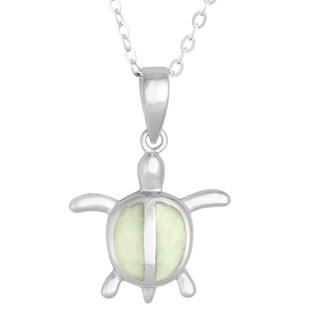 La Preciosa Sterling Silver White Opal Turtle Pendant