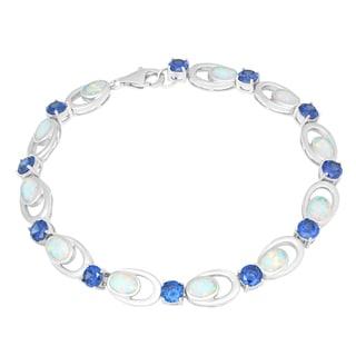 La Preciosa Sterling Silver White Opal and Cubic Zirconia Oval Link Bracelet