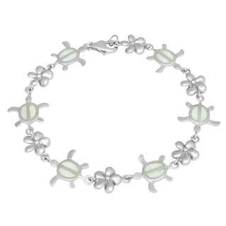 La Preciosa Sterling Silver Opal Sea Turtle and Flower Link Bracelet