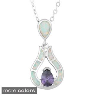 La Preciosa Sterling Silver White Opal and Cubic Zirconia Teardrop Pendant