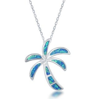 La Preciosa Sterling Silver Created White Opal Palm Tree Pendant