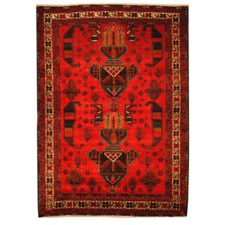 Herat Oriental Semi-antique Afghan Hand-knotted Tribal Balouchi Red/ Ivory Wool Rug (3'5 x 4'9)