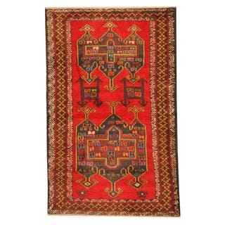Herat Oriental Semi-antique Afghan Hand-knotted Tribal Balouchi Red/ Brown Wool Rug (2'9 x 4'5)