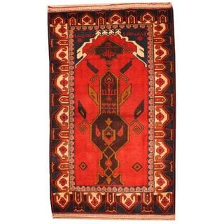 Herat Oriental Semi-antique Afghan Hand-knotted Tribal Balouchi Red/ Ivory Wool Rug (3' x 4'10)