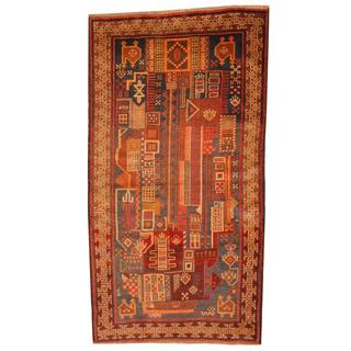 Herat Oriental Semi-antique Afghan Hand-knotted Tribal Balouchi Navy/ Ivory Wool Rug (2'6 x 4'9)