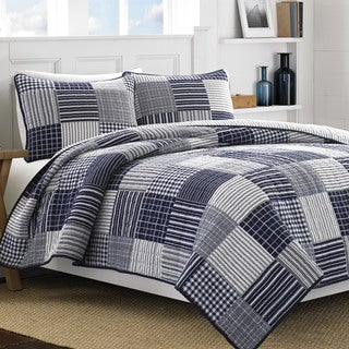 Nautica Key Haven Blue/White Cotton 3-piece Quilt Set