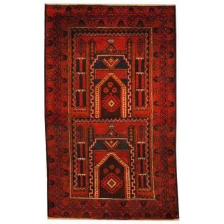 Herat Oriental Semi-antique Afghan Hand-knotted Tribal Balouchi Rust/ Navy Wool Rug (2'9 x 4'6)