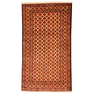 Herat Oriental Semi-antique Afghan Hand-knotted Tribal Balouchi Ivory/ Red Wool Rug (2'7 x 4'8)