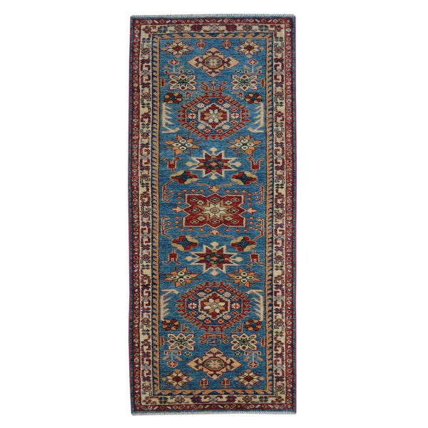 Hand Knotted Tribal Design Super Kazak Runner Oriental Rug (2' x 6') 14612763