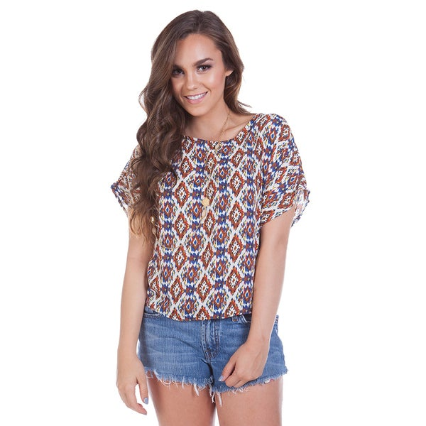Scoop Neck Tribal Printed Top with Zipper Back
