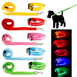 LED Night Safety Pet Nylon Neck Adjustable Collar + Leash Bundle